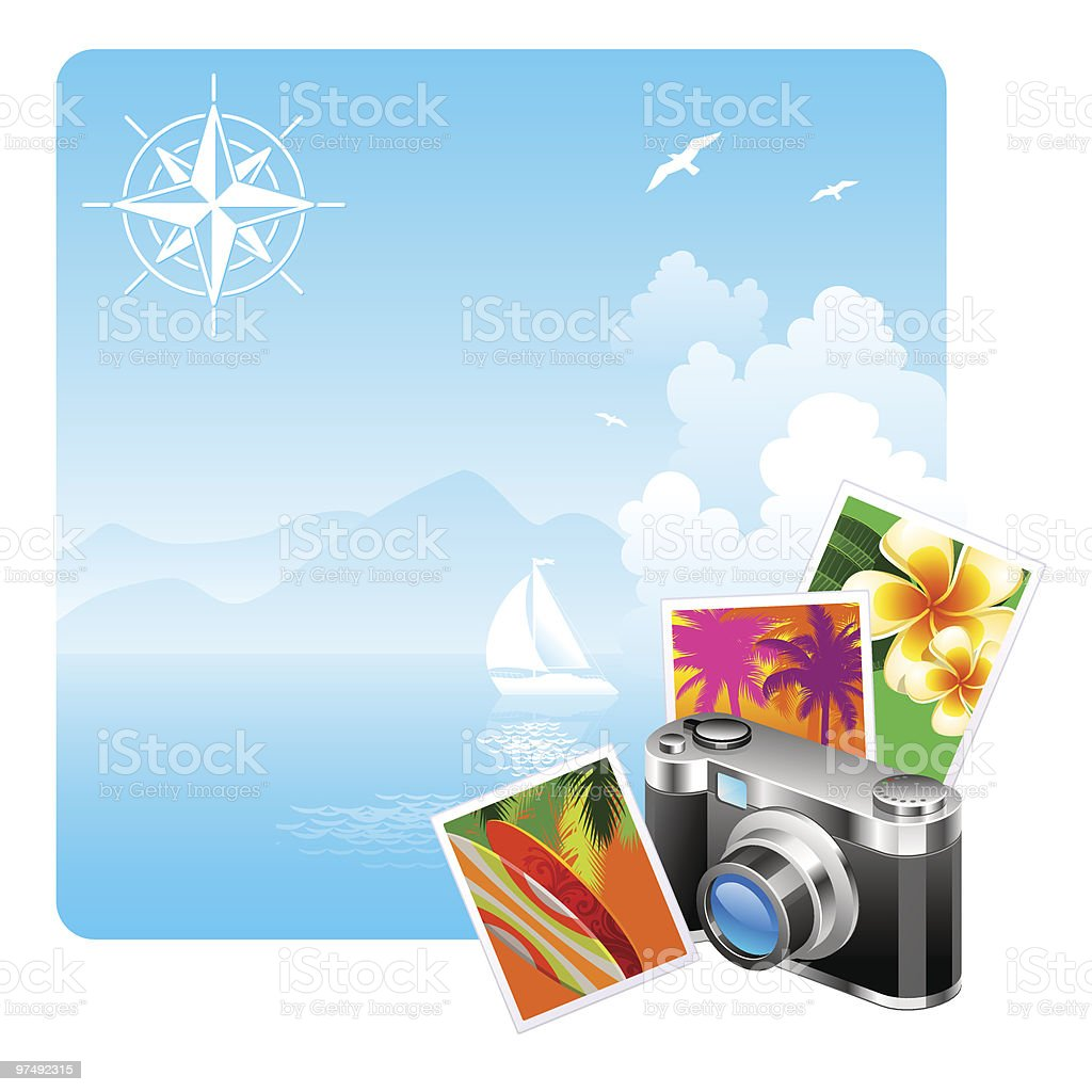 Camera and travel pictures against a idyllic landscape royalty-free camera and travel pictures against a idyllic landscape stock vector art & more images of camera - photographic equipment
