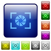 Camera aperture setting color square buttons
