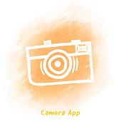 Vector retro camera doodle sketch over watercolor background.