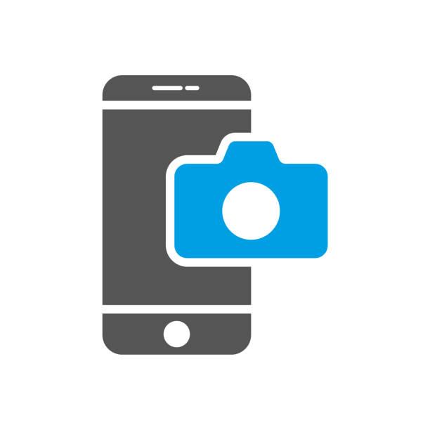 kamera-anwendung smartphone. modernes smartphone mit symbol der kamera. bunte vektor-illustration. eps 10. - fotohandy stock-grafiken, -clipart, -cartoons und -symbole