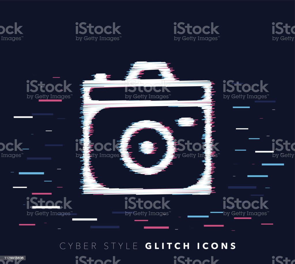 Camera Apps Glitch Effect Vector Icon Illustration Stock