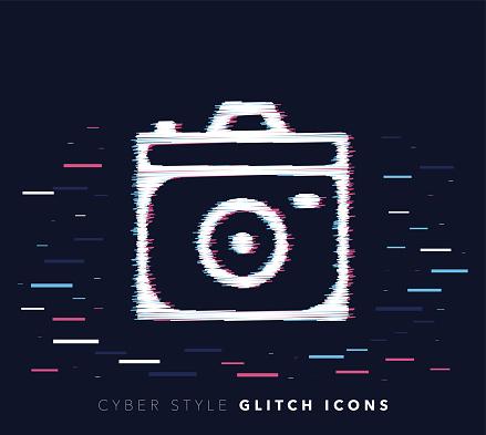 Camera Apps Glitch Effect Vector Icon Illustration