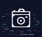 Glitch effect vector icon illustration of camera apps with abstract background.
