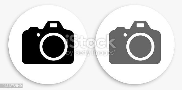 DSLR Camera Black and White Round Icon. This 100% royalty free vector illustration is featuring a round button with a drop shadow and the main icon is depicted in black and in grey for a roll-over effect.