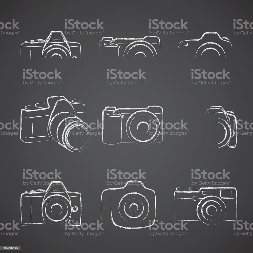 Camera Blackboard vector art illustration
