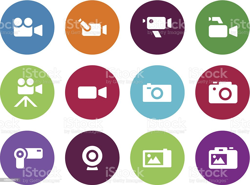 Camera circle icons on white background. vector art illustration
