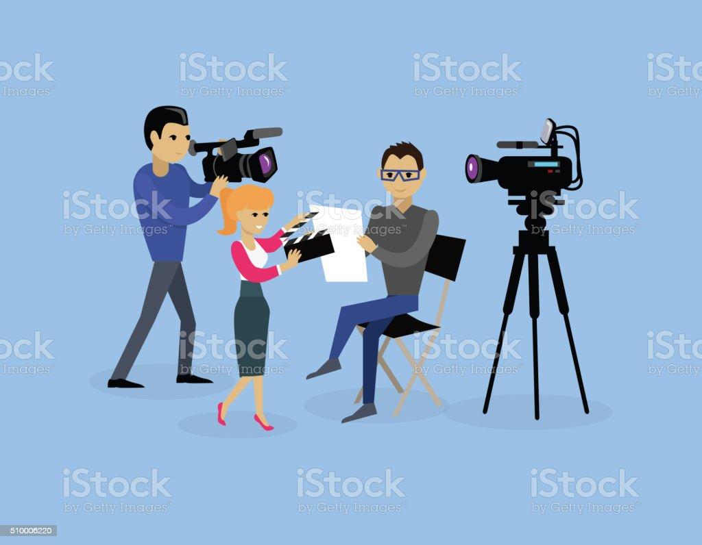 Camera Crew Team People Group Flat Style vector art illustration