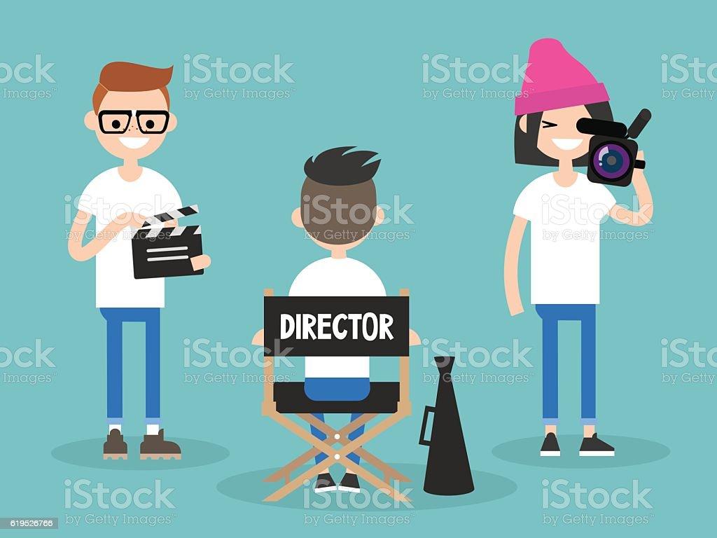 Camera crew vector art illustration