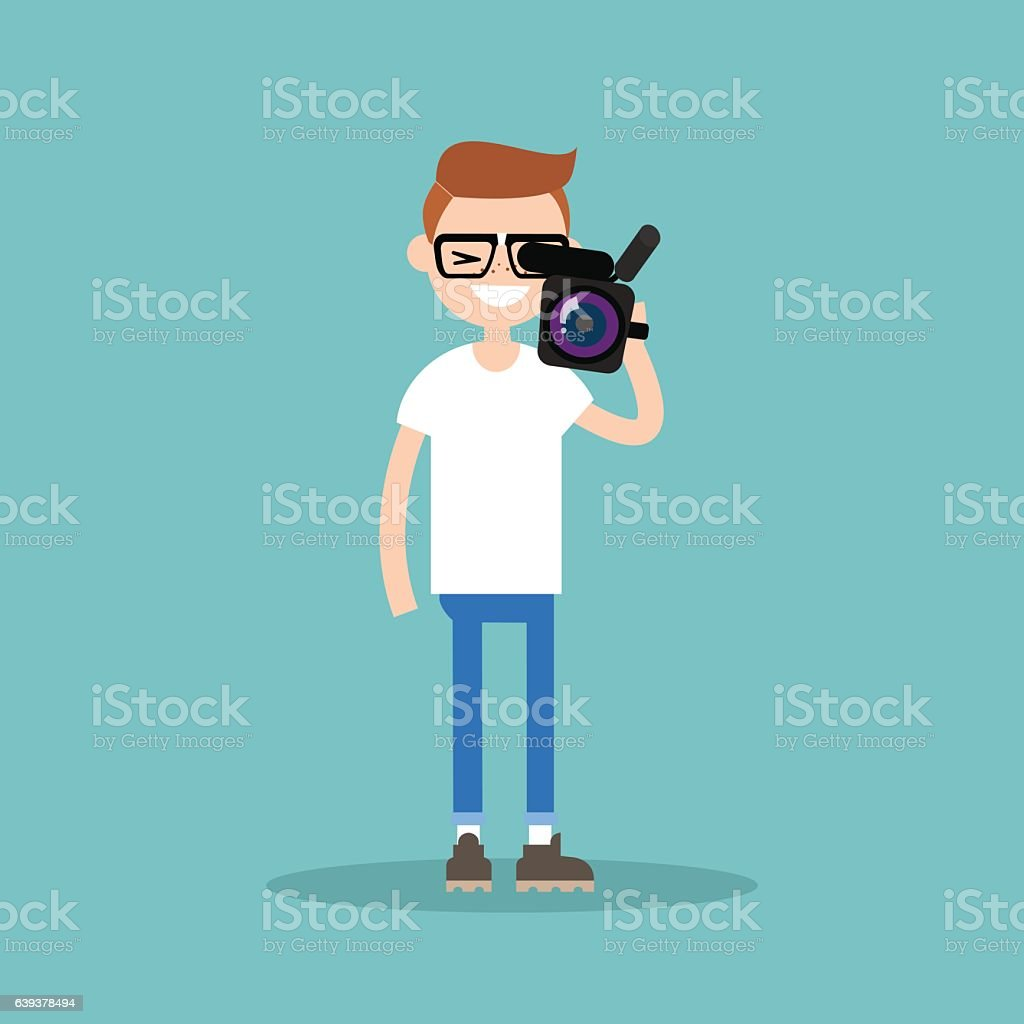 Camera crew: young operator holding a camera vector art illustration