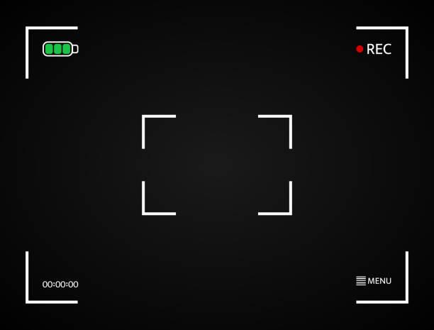 ilustraciones, imágenes clip art, dibujos animados e iconos de stock de pantalla de la cámara. marco de cámara digital. pantalla del visor. marco de la foto. interfaz de visualización de cámara negra. grabación de pantalla de vídeo. ilustración vectorial - zoom call
