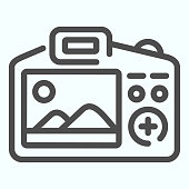 Camera Display line icon. Display of camera vector illustration isolated on white. Photo camera screen outline style design, designed for web and app. Eps 10