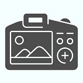 Camera Display solid icon. Display of camera vector illustration isolated on white. Photo camera screen glyph style design, designed for web and app. Eps 10
