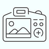 Camera Display thin line icon. Display of camera vector illustration isolated on white. Photo camera screen outline style design, designed for web and app. Eps 10