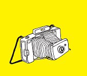 Camera Drawing on Yellow
