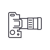 camera dslr, top view vector line icon, sign, illustration on background, editable strokes