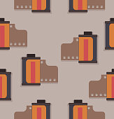 camera film Roll vector pattern