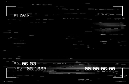 Camera film screen with glitch effect, vector vhs