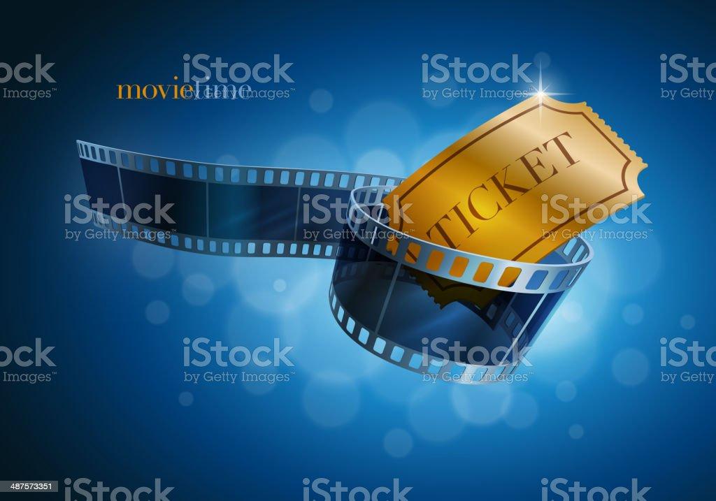 Camera film strip and gold ticket. vector art illustration