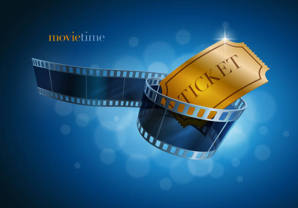 Camera film strip and gold ticket. Camera film strip and gold ticket on blue defocus background. Vector illustration. EPS10 file. admit one stock illustrations