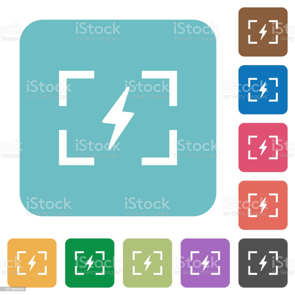 Camera flash mode rounded square flat icons