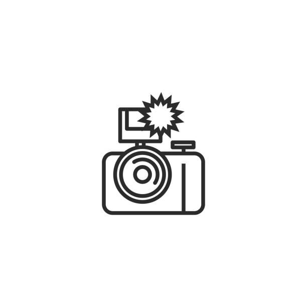 둥근 카메라 플래시 아이콘 - 카메라 플래시 stock illustrations