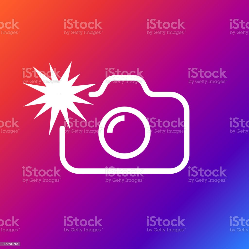 Camera flash rounded icon. Vector illustration style is flat iconic symbol white color on the color background vector art illustration