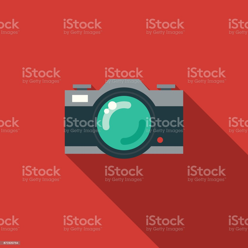 Camera Flat Design Party Icon with Side Shadow