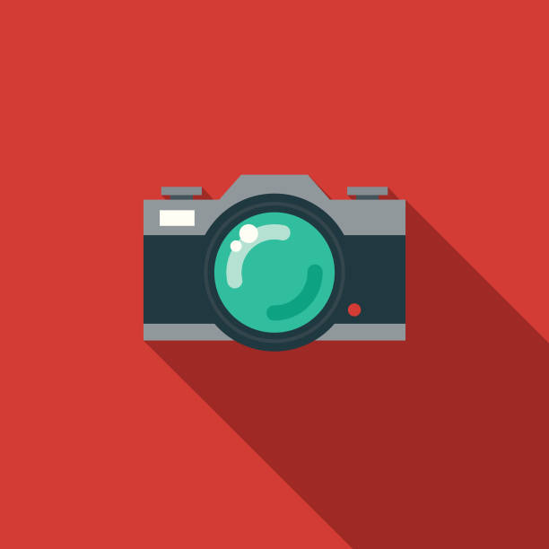 camera flat design party icon with side shadow - aparat fotograficzny stock illustrations