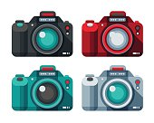 A set of flat design-styled cameras. EPS 10 file, layered & grouped,