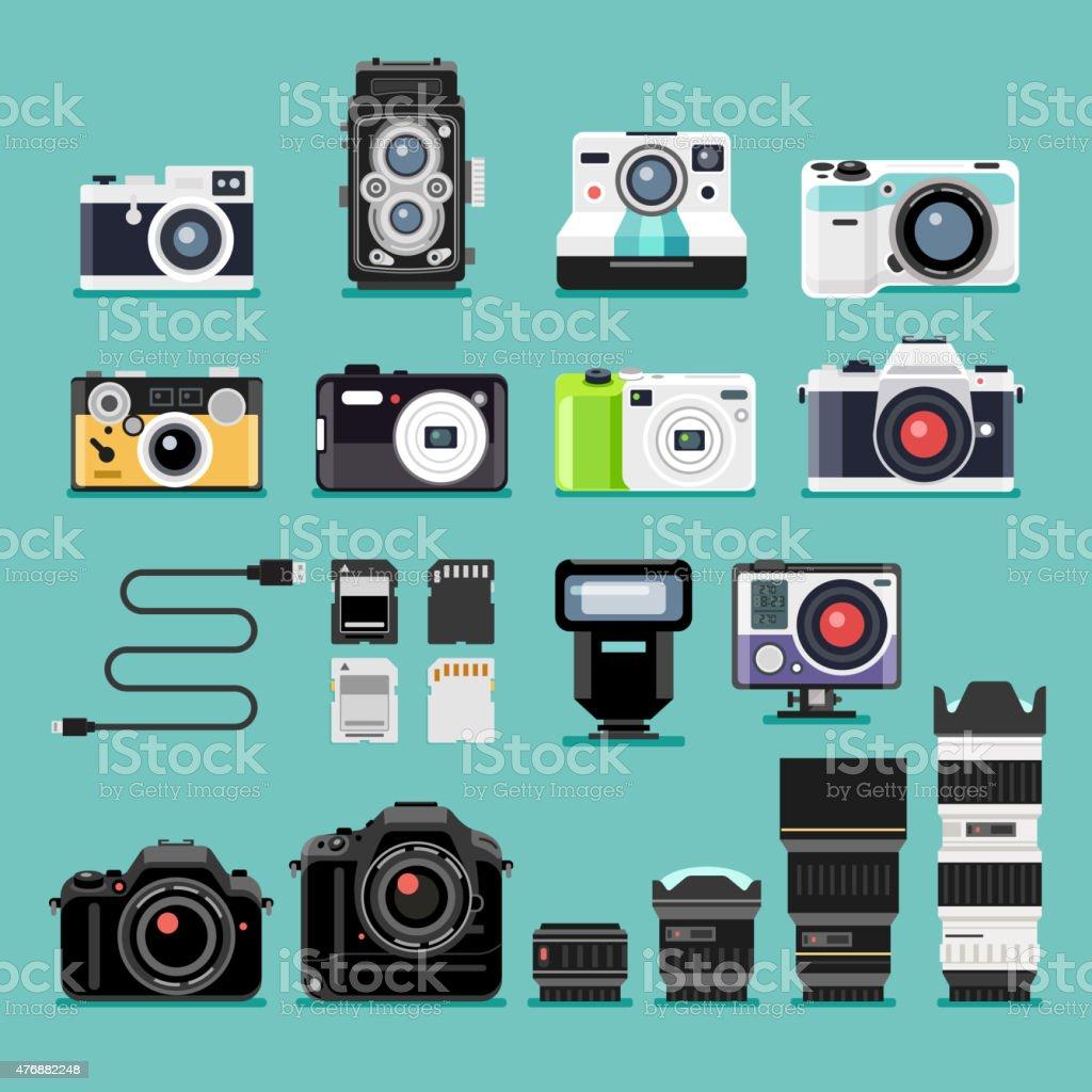 Kamera flache Symbole. – Vektorgrafik