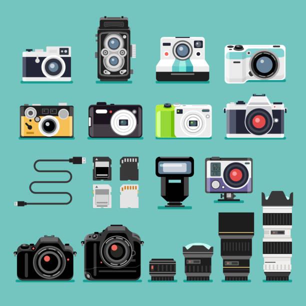 カメラのフラットアイコン。 - カメラ点のイラスト素材/クリップアート素材/マンガ素材/アイコン素材