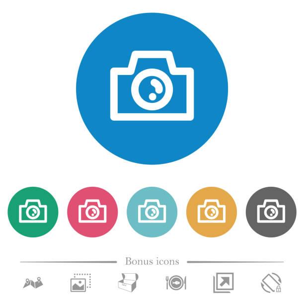 Kamera flache runde Symbole – Vektorgrafik