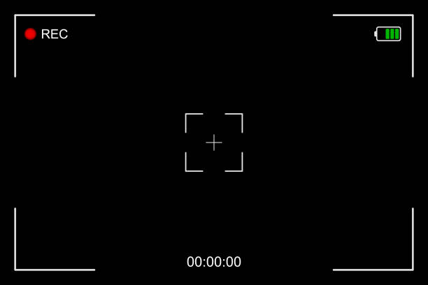 camera frame viewfinder screen of video recorder, recording video screen, digital display interface. camera viewfinder, rec icon with information and timing, video screen on a black background - double exposure stock illustrations