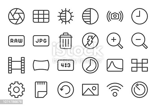 Camera Function Icon Set 2 Light Line Series Vector EPS File.