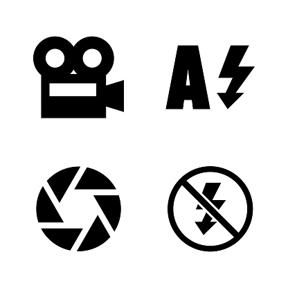 Camera Functions, Menu Mode. Simple Related Vector Icons