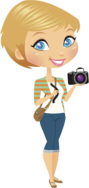 Camera Girl A girl holding a camera and some negatives with her stylish satchel around her shoulder. The camera and negatives are easy to remove in Ai for just a gesturing hand.  heyheydesigns stock illustrations