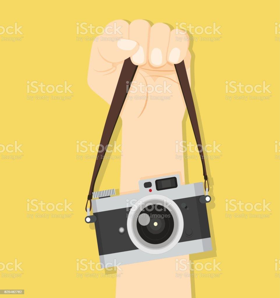 camera hand straps vector art illustration