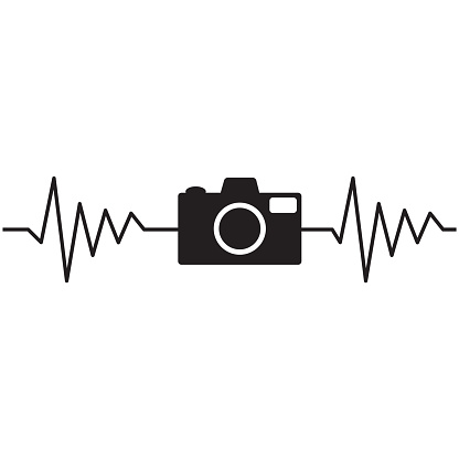 camera heartbeat photographer on white background. heartbeat with camera sign. photo camera heartbeat symbol. flat style.