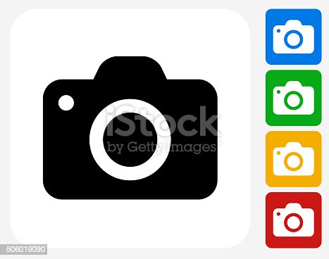 Camera Icon. This 100% royalty free vector illustration features the main icon pictured in black inside a white square. The alternative color options in blue, green, yellow and red are on the right of the icon and are arranged in a vertical column.
