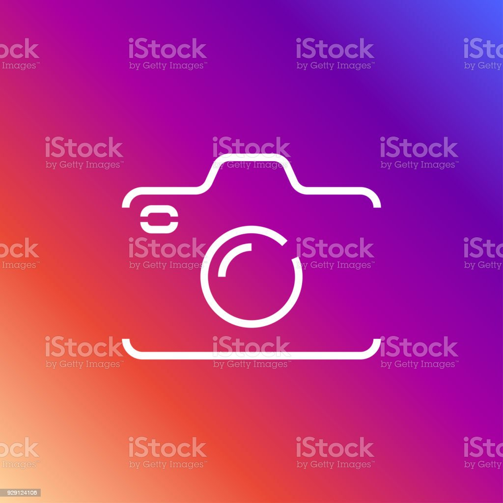 Camera icon in trendy flat style isolated on colored background camera symbol for your web site. Editable Stroke vector art illustration