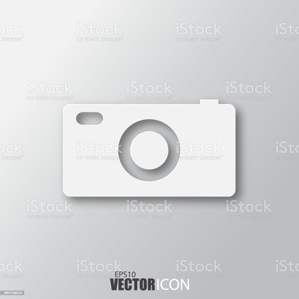 Camera icon in white style with shadow isolated on grey background. royalty-free camera icon in white style with shadow isolated on grey background stock vector art & more images of abstract