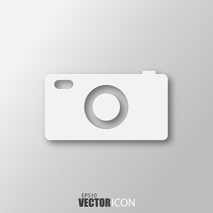 Camera Icon In White Style With Shadow Isolated On Grey Background Stock Illustration - Download Image Now