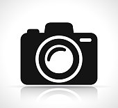 Illustration of camera icon on white background