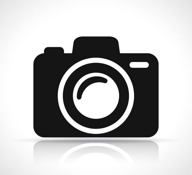 camera icon on white background - tematy fotograficzne stock illustrations