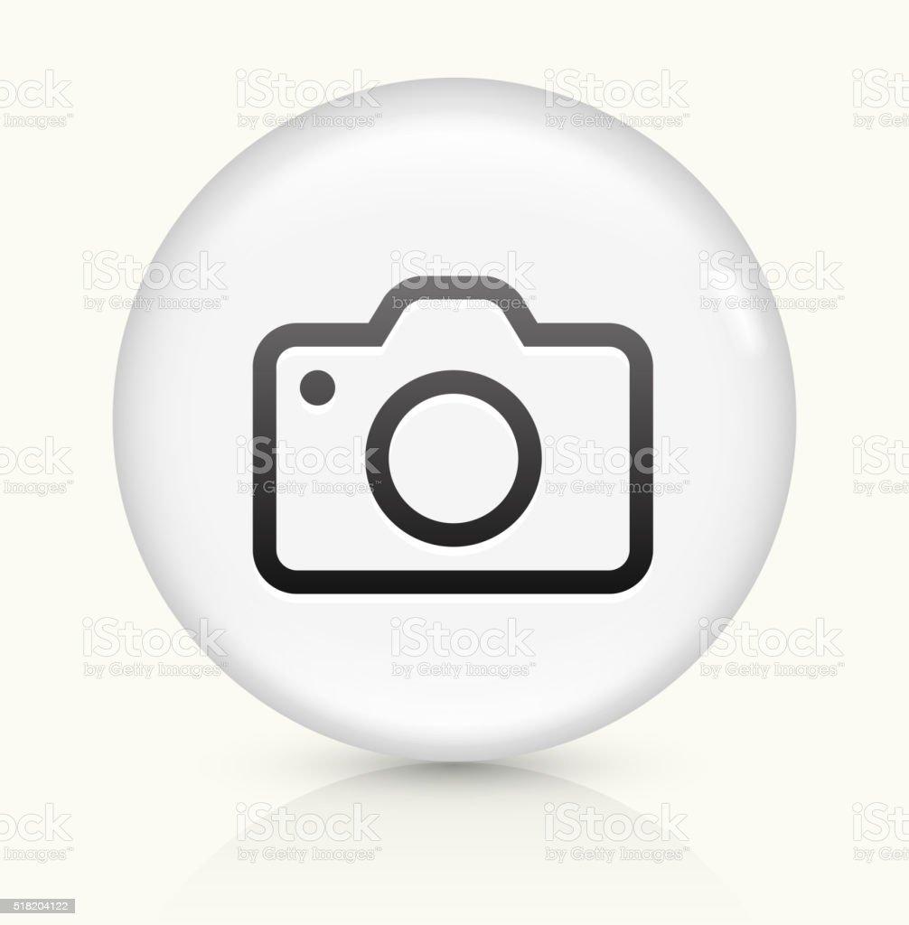 Caméra icône sur blanc vecteur rond bouton - Illustration vectorielle
