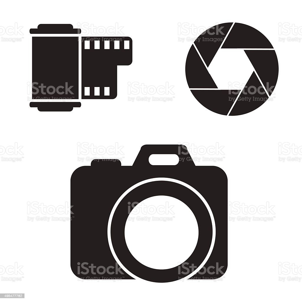 Camera icon set. vector art illustration