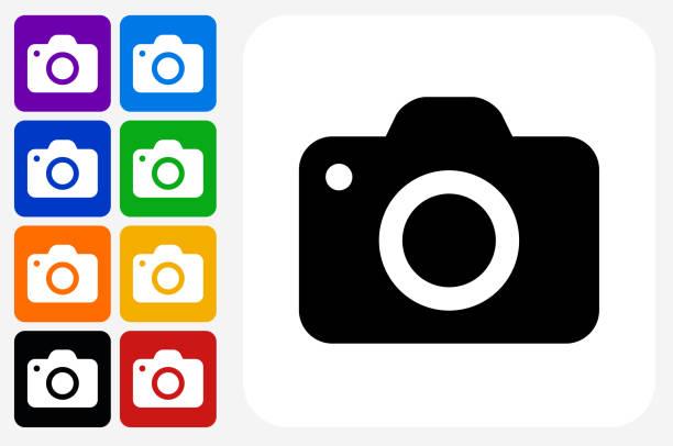 Camera Icon Square Button Set vector art illustration