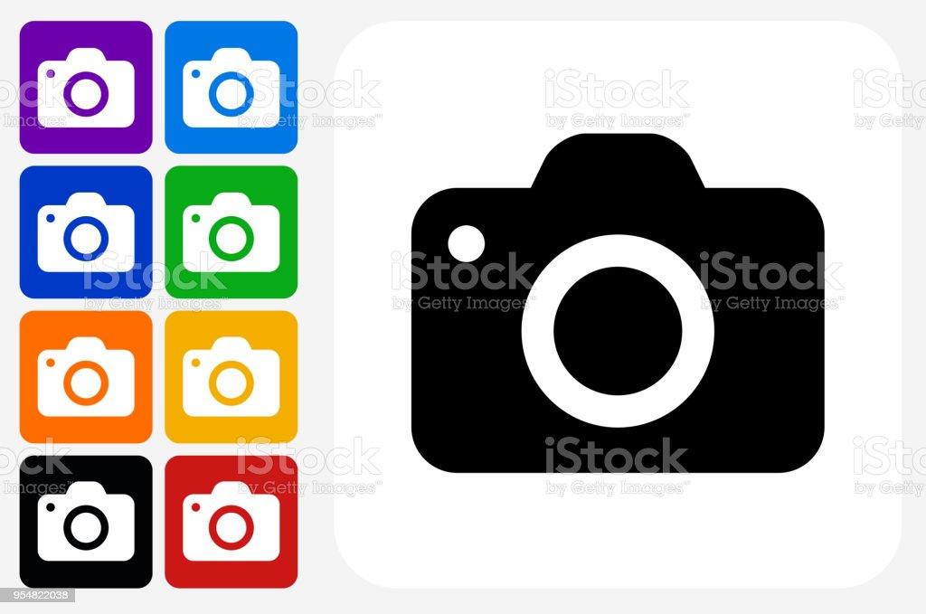 Kamera-Symbol Square Buttonset – Vektorgrafik