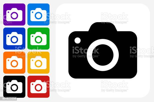 Camera Icon Square Button Set. The icon is in black on a white square with rounded corners. The are eight alternative button options on the left in purple, blue, navy, green, orange, yellow, black and red colors. The icon is in white against these vibrant backgrounds. The illustration is flat and will work well both online and in print.