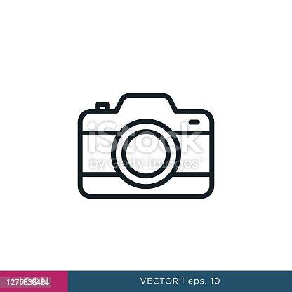 istock Camera icon vector design template. Editable stroke 1275836484